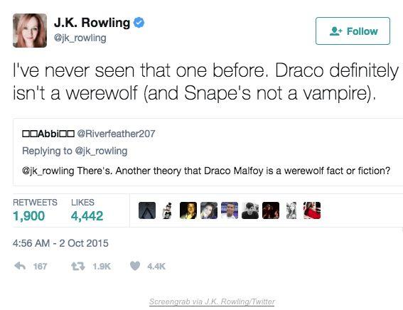 Joanne Rowling Tweet