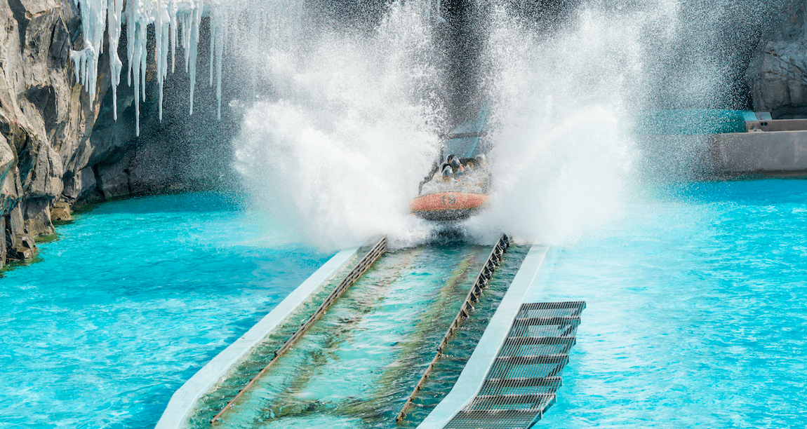 Wildwasserbahn-Fahrt